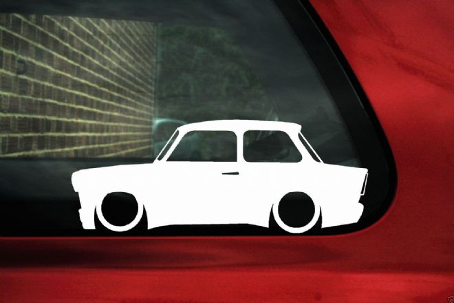 2x Low car outline stickers - for Trabant 601 SEDAN / LIMOUSINE lowered, OLDTIMER